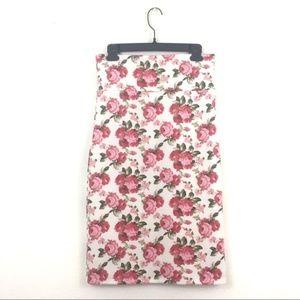 Pink Agnes & Dora Floral Pencil Skirt Medium